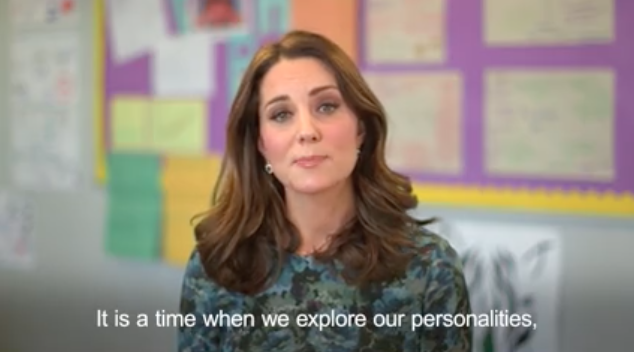 "In a video message, the Duchess also calls for parents and teachers to ""give children the emotional strength"" they need to ""fulfil their true potential"". Photo: Kensington Palace"