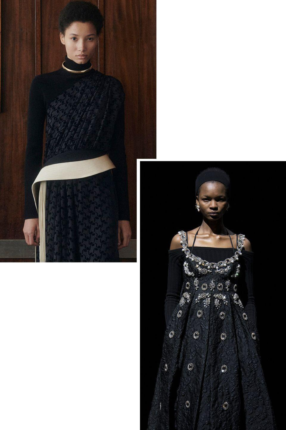 <p>A black sweater can take an evening dress from night to day or add a little casual vibe to day-to-night dressing.</p><p><em>Pictured: Erdem</em></p>