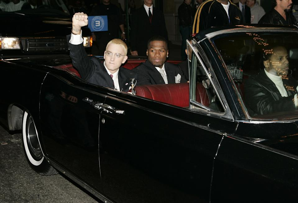 Eminem, 50 Cent and Dr. Dre (Photo by Kevin Mazur/WireImage for Sirius Satellite Radio )