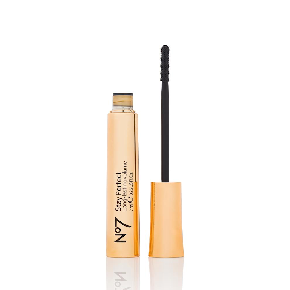 """<p>No7's Stay Perfect Mascara is so glossy and wet upon application, we were skeptical of the smudge-proof claims. When it dries down, however, this mascara leaves nothing except smudge-free, ultra-black lashes — which, true to its name, actually <em>do</em> stay perfect all day. The brush is made from hard, relatively inflexible plastic, which separates every last lash. (Just make sure you don't accidentally poke your eye with this thing.)</p> <p><strong>$9</strong> (<a href=""""https://us.no7beauty.com/stay-perfect-mascara-black/12207127.html"""" rel=""""nofollow noopener"""" target=""""_blank"""" data-ylk=""""slk:Shop Now"""" class=""""link rapid-noclick-resp"""">Shop Now</a>)</p>"""