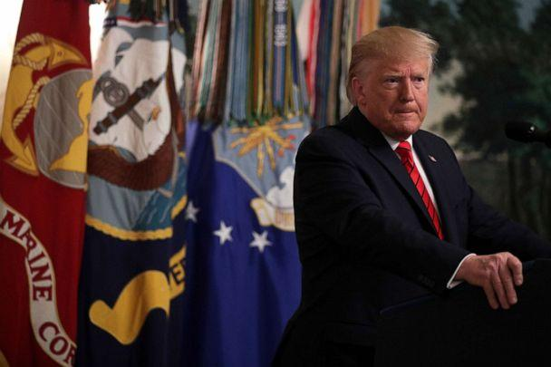 PHOTO: President Donald Trump makes a statement in the Diplomatic Reception Room of the White House in Washington, D.C., Oct. 27, 2019. (Alex Wong/Getty Images, FILE)