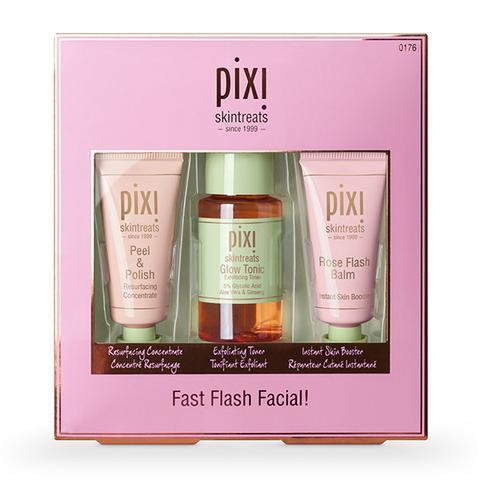 """<h3>Pixi Fast Flash Facial</h3> <br>For just $22, you get a three-step facial bundle: an enzyme peel, the top-rated <a href=""""https://www.refinery29.com/en-us/2014/01/60906/pixi-glow-tonic-toner"""" rel=""""nofollow noopener"""" target=""""_blank"""" data-ylk=""""slk:Pixi Glow Tonic"""" class=""""link rapid-noclick-resp"""">Pixi Glow Tonic</a>, and a rich balm moisturizer that smells like rose petals.<br><br><strong>Pixi</strong> Fast Flash Facial!, $, available at <a href=""""https://go.skimresources.com/?id=30283X879131&url=https%3A%2F%2Fwww.pixibeauty.com%2Fproducts%2Ffast-flash-facial%3Fvariant%3D5278668652576"""" rel=""""nofollow noopener"""" target=""""_blank"""" data-ylk=""""slk:Pixi"""" class=""""link rapid-noclick-resp"""">Pixi</a><br>"""