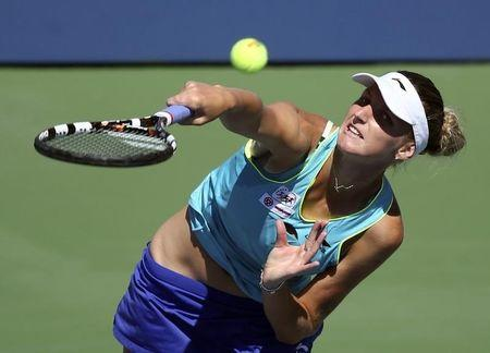 Karolina Pliskova of the Czech Republic serves to Ana Ivanovic of Serbia during their match at the 2014 U.S. Open tennis tournament in New York, August 28, 2014. REUTERS/Adam Hunger