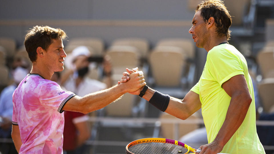 Rafa Nadal and Diego Schwartzman, pictured here after their quarter-final clash at the French Open.