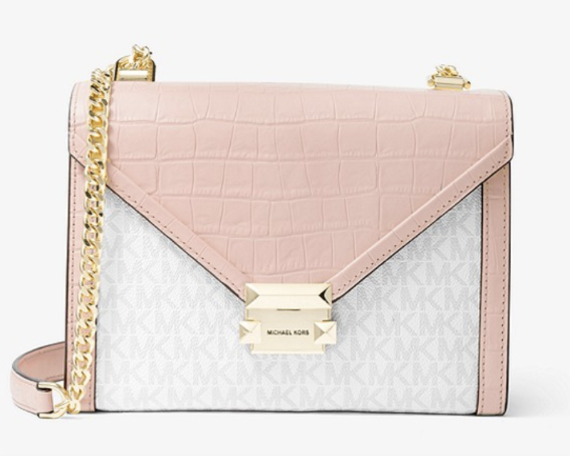 Whitney Large Logo and Embossed Leather Convertible Shoulder Bag. (PHOTO: Michael Kors)