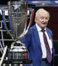 Tennis great Rod Laver stands next to the Laver Cup during opening ceremonies for Laver Cup tennis, Friday, Sept. 24, 2021, in Boston. (AP Photo/Elise Amendola)