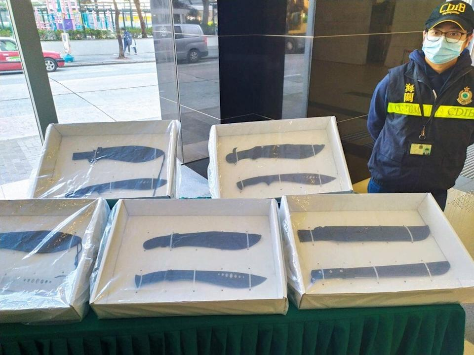 Large knives were also found in the customs swoops. Photo: Handout