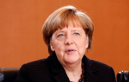 German Chancellor Merkel attends the weekly cabinet meeting at the Chancellery in Berlin