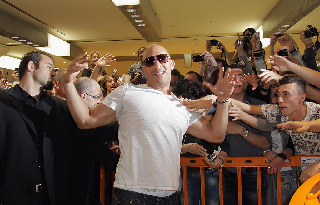 """ROME, ITALY - APRIL 29:  Vin Diesel attends the """"Fast & Furious 5"""" premiere at UGC Cinema on April 29, 2011 in Rome, Italy.  (Photo by Ernesto Ruscio/Getty Images) *** Local Caption *** Vin Diesel;"""