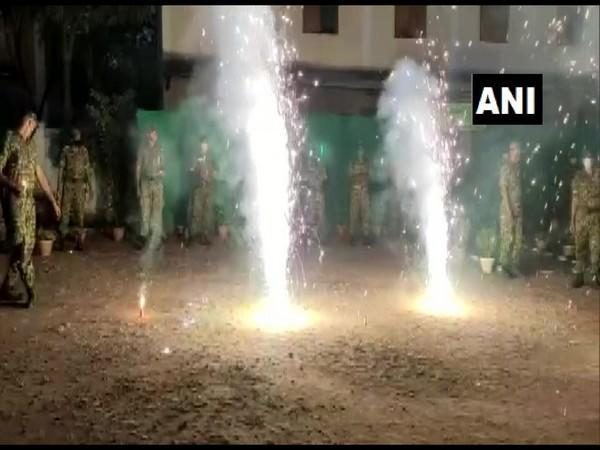 A visual of ITBP personnel celebrating Diwali in Chhattisgarh's Rajnandgaon on Saturday night. Photo/ANI