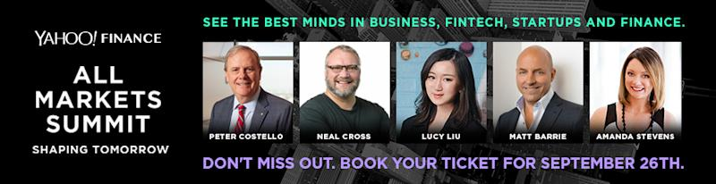 Yahoo Finance's All Markets Summit is on the 26th September 2019 in the Shangri-La, Sydney. Peter Costello, Neal Cross, Lucy Liu, Matt Barrie and Amanda Stevens will be speaking. Source: Yahoo Finance
