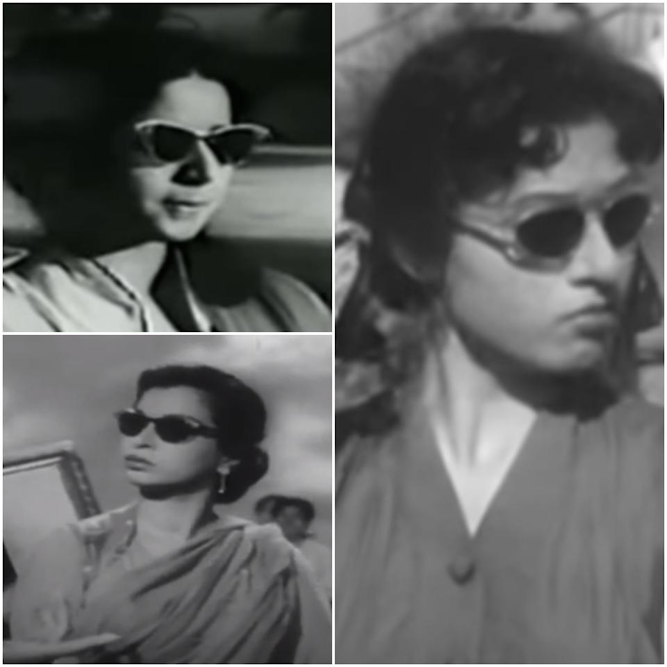 The iconic cat-eye sunglasses made a splash in Bollywood in the '50s and became an instant favourite with the era's leading ladies. (Clockwise) Madhubala in Mr and Mrs 55 (1955), Sheila Ramani in Railway Platform (1955), and Geeta Bali in Milap (1955)