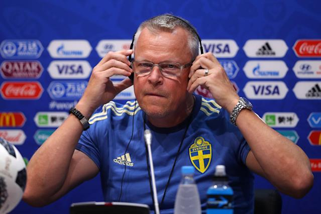 Soccer Football - World Cup - Sweden Press Conference - Fisht Stadium, Sochi, Russia - June 22, 2018 Sweden coach Janne Andersson during the press conference REUTERS/Hannah McKay