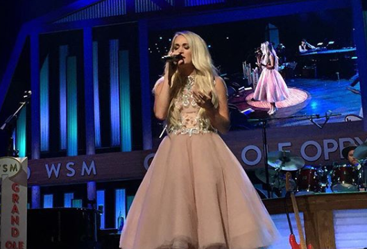 Carrie Underwood took the stage at the Opry in a pink princess dress. (Photo: Instagram/opry)