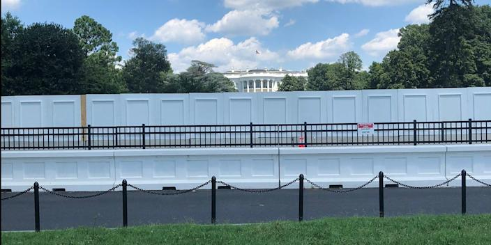 A new wall blocking off the White House South Lawn on Sunday.