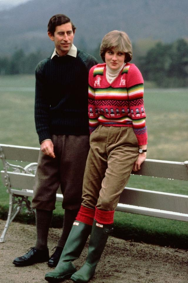<p>No one wears wellies like Princess Di wore wellies. Although not one of her most famous looks, this outfit from before her wedding inspired women across the world to haul out their rainboots. </p>