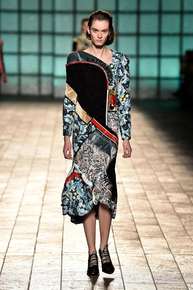 <p>A maximalist, mixed-print dress at the Mary Katrantzou FW18 show. (Photo: Getty) </p>