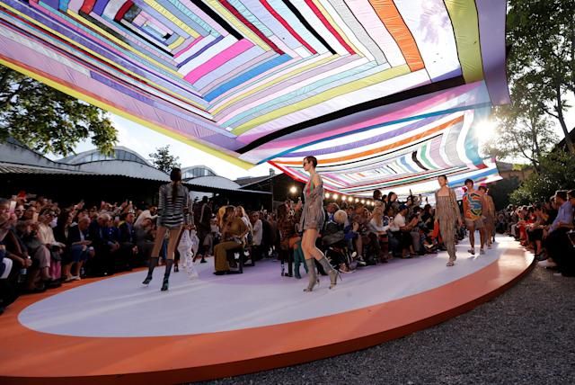 FILE PHOTO: Models parade at the end of the Missoni Spring/Summer 2018 show at the Milan Fashion Week in Milan, Italy, September 23, 2017. REUTERS/Alessandro Garofalo/File Photo