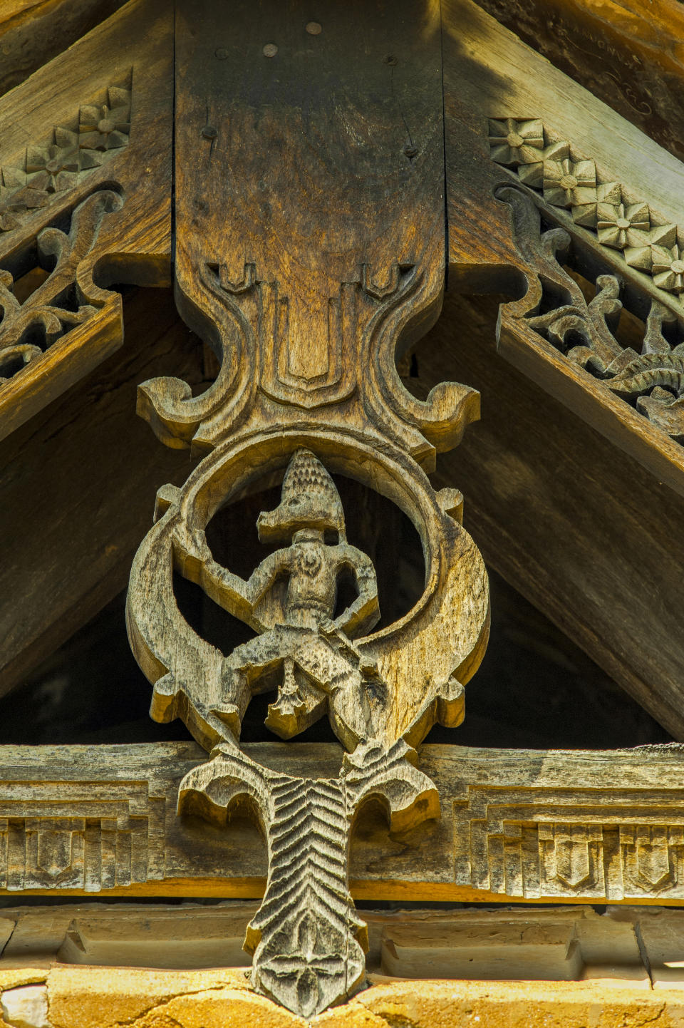 Heritage architecture wooden Hanuman Padmanabhapuram wooden palace complex-20km from Nagercoil Tamil Nadu, India