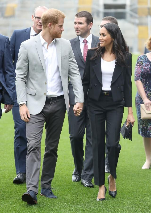 <p>The Duchess also made a quick outfit change into a sleek suit. </p>
