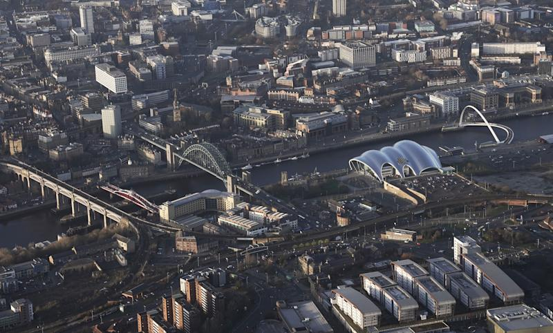 File photo dated 24/02/18 of an aerial view of (from the left), High Level Bridge, Swing Bridge, Tyne Bridge and Gateshead Millennium Bridge, which span the River Tyne in Newcastle. The North East looks set to become the latest area in England to come under local restrictions as coronavirus cases rise.