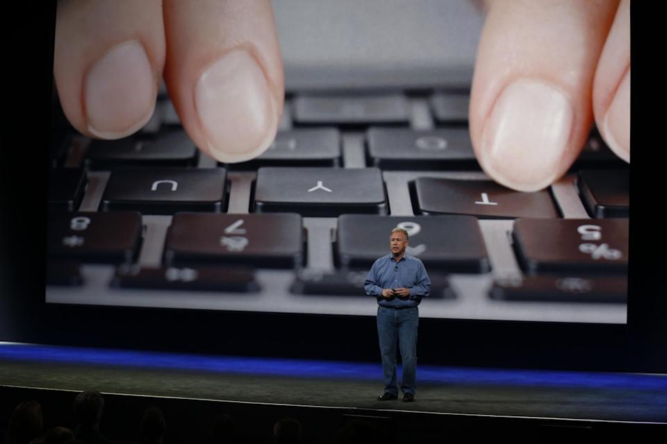 Schiller introduces the previous MacBook's keyboard during an Apple special event at the Yerba Buena Center for the Arts on March 9, 2015 in San Francisco, California: Stephen Lam/Getty Images