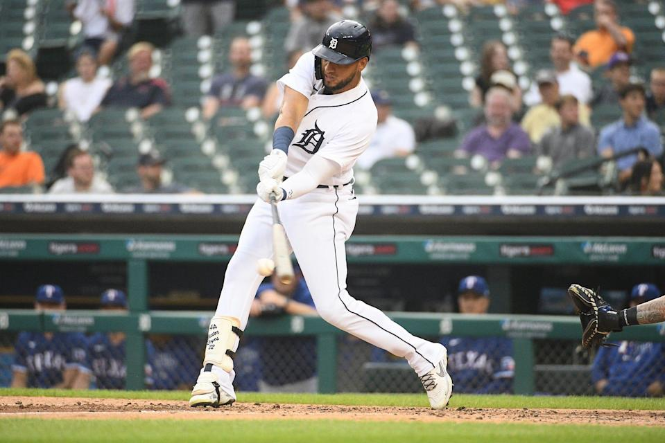 Tigers right fielder Victor Reyes hits a double during the third inning against the Rangers at Comerica Park on Monday, July 19, 2021.