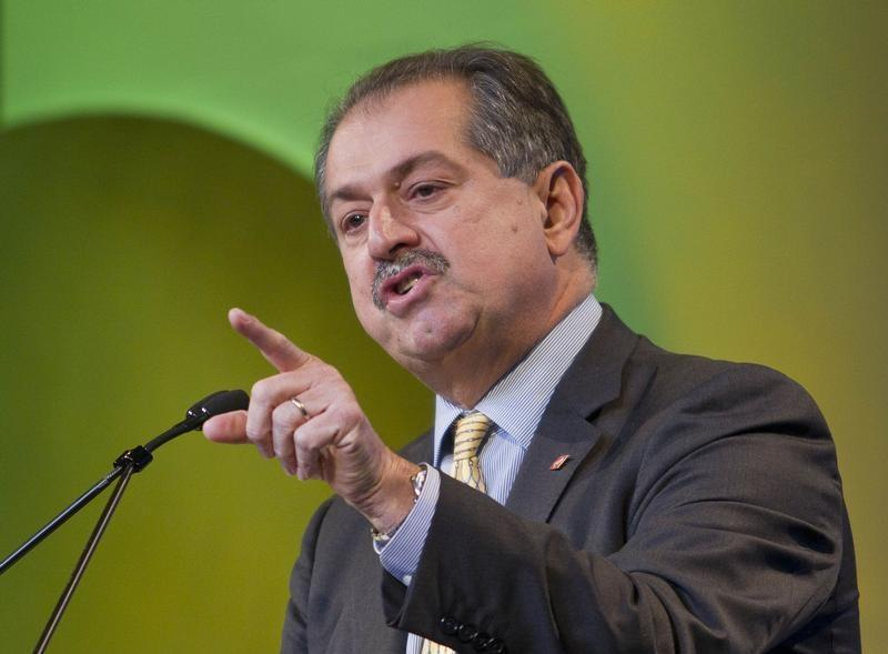 Dow Chemical CEO Liveris speaks during the CERAWEEK energy conference in Houston