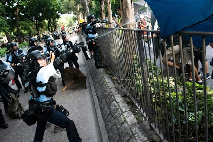Police used pepper spray and batons against masked protesters in Sheung Shui, a town near the border with China (AFP Photo/Philip FONG)
