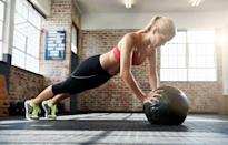 """<p>Phelps suggests adding a <a href=""""https://www.prevention.com/fitness/workouts/g25992901/best-medicine-ball-exercises/"""" rel=""""nofollow noopener"""" target=""""_blank"""" data-ylk=""""slk:medicine ball"""" class=""""link rapid-noclick-resp"""">medicine ball</a> to your burpee to increase the intensity of the exercise and boost your <a href=""""https://www.prevention.com/weight-loss/a20478794/boost-metabolism-with-the-high-metabolism-diet/"""" rel=""""nofollow noopener"""" target=""""_blank"""" data-ylk=""""slk:metabolism"""" class=""""link rapid-noclick-resp"""">metabolism</a>—all while building a sleek set of six-pack abs.</p><p><strong>How to do medicine ball burpees: </strong>Standing with your feet shoulder-distance apart, hold a medicine ball with both hands. Extend the ball up overhead, then slam the ball down on the ground as hard as you can, hinging over and sitting your butt back as you slam. As you hinge over, bend your knees. Place your hands on the ground outside of your feet and jump back into a high-plank position. Keep your body in a straight line. Then, jump your feet back towards the outsides of your hands so that you are squatting. Pick up the ball and press it overhead, extending your body and standing tall.</p>"""
