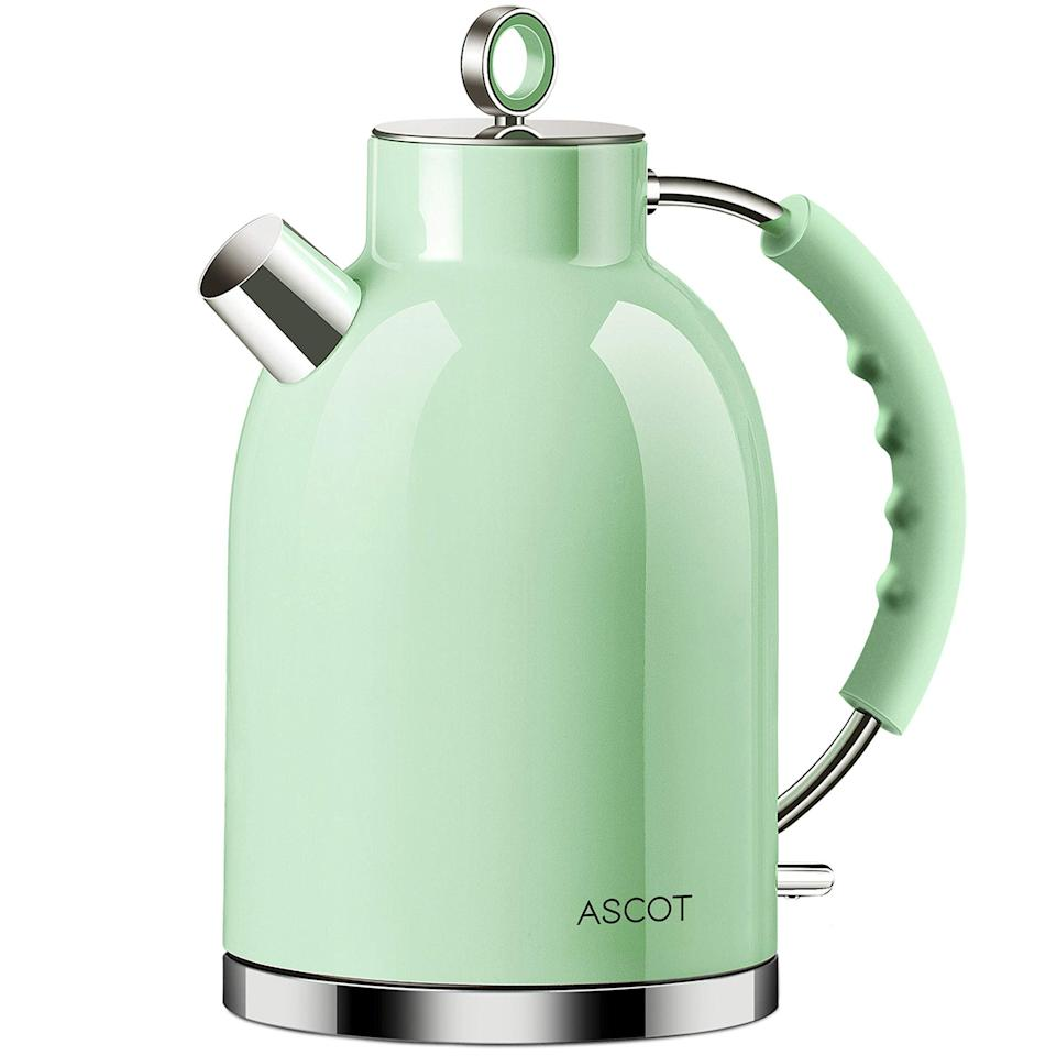 """<h3>Stainless Steel Electric Kettle</h3><br>This affordable-but-still-premium electric kettle is crafted from high-quality stainless steel and coated in a powdery-mint green that radiates retro kitchen vibes.<br><br><strong>ASCOT</strong> Stainless-Steel Electric Tea Kettle, Green, $, available at <a href=""""https://amzn.to/3aWztiP"""" rel=""""nofollow noopener"""" target=""""_blank"""" data-ylk=""""slk:Amazon"""" class=""""link rapid-noclick-resp"""">Amazon</a>"""