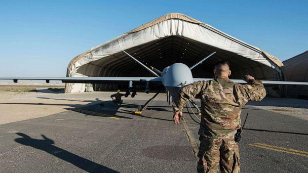 PHOTO: Airmen conduct flight control checks during preflight of a Reaper drone launch at an undisclosed location in Southwest Asia, Feb. 21, 2019. (Staff Sgt. Arielle Vasquez/U.S. Air Force)