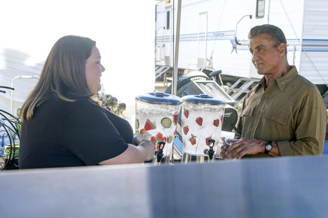 <p>Chrissy Metz as Kate and Sylvester Stallone as Himself in NBC's <i>This Is Us</i>.<br>(Photo: Ron Batzdorff/NBC) </p>