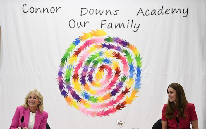 US First Lady Jill Biden and the Duchess of Cambridge participate during a round table on early education during a visit to Connor Downs Academy - Daniel Leal Olivas/Pool/REUTERS