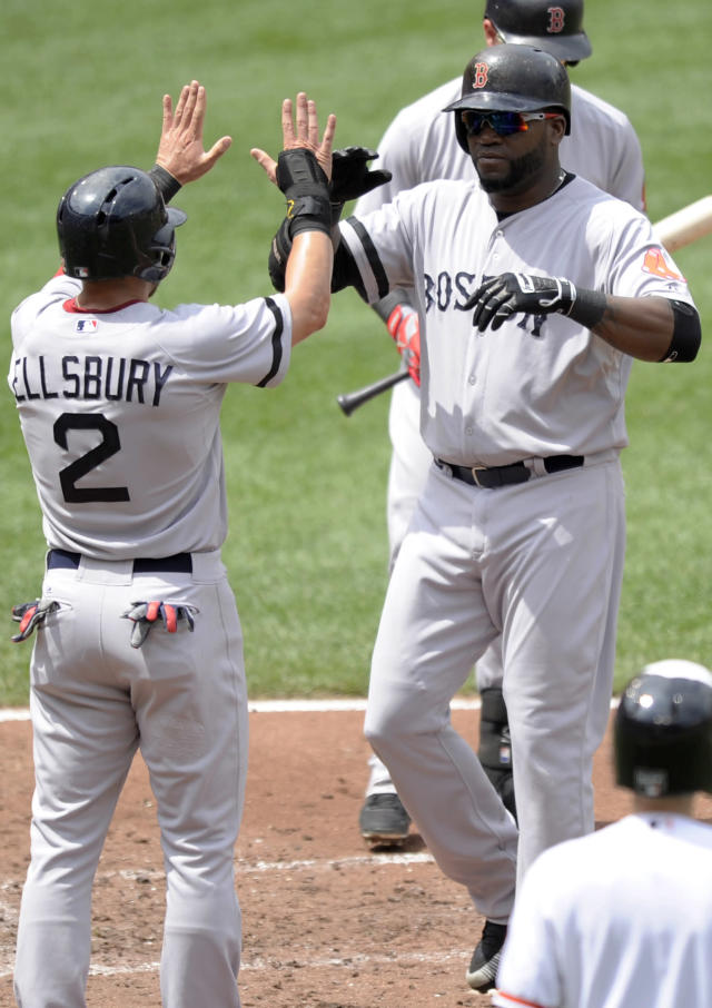 Boston Red Sox designated hitter David Ortiz, right, celebrates his two-run home run with Jacoby Ellsbury (2) during the third inning of an MLB American League baseball game against the Baltimore Orioles, Sunday, July 28, 2013, in Baltimore. (AP Photo/Nick Wass)