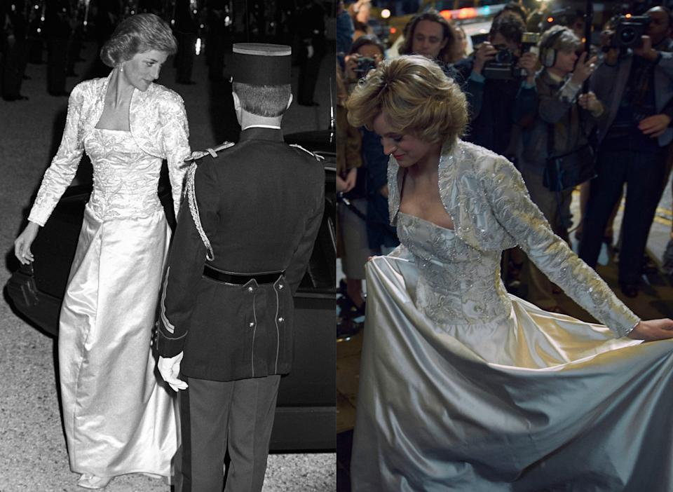 (L) Princess Diana at the Elysee Palace in 1988 and (R) wearing a copy of the dress in The Crown