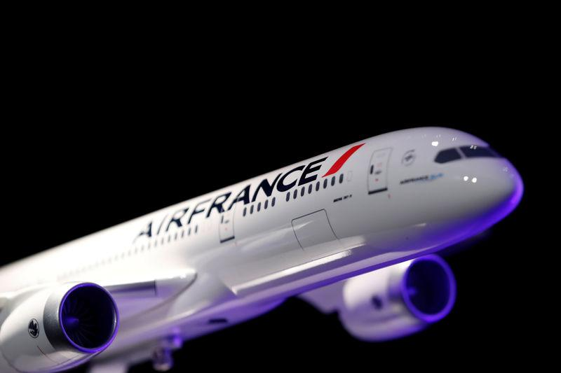 An Air France Boeing 787-9 scale model is seen in Paris