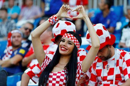 Soccer Football - World Cup - Group D - Croatia vs Nigeria - Kaliningrad Stadium, Kaliningrad, Russia - June 16, 2018 Croatia fan inside the stadium before the match REUTERS/Fabrizio Bensch