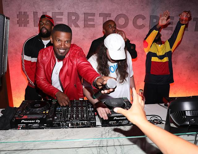 <p>The multitalented Foxx entertained at the Highlight Room, a new rooftop club, at a bash that Adidas and soccer's Manchester United hosted after the team defeated the L.A. Galaxy. (Photo: Jerritt Clark/Getty Images for adidas) </p>