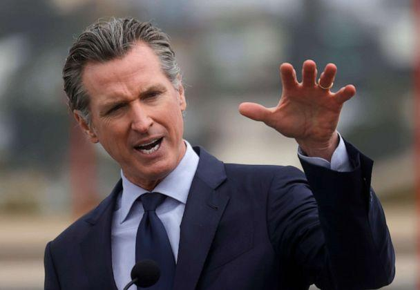 PHOTO: California Gov. Gavin Newsom speaks during a news conference after touring the vaccination clinic at City College of San Francisco on April 06, 2021, in San Francisco. (Justin Sullivan/Getty Images, FILE)