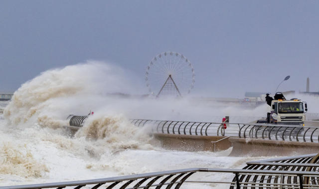 Waves crash over a lorry on Blackpool waterfront on Monday in the aftermath of Storm Ciara. (PA)