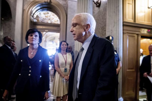 <p>Sen. John McCain arrives on Capitol Hill in Washington, July 25, 2017, as the Senate was to vote on moving ahead on health care with the goal of erasing much of President Barack Obama's law. (Photo: Andrew Harnik/AP) </p>