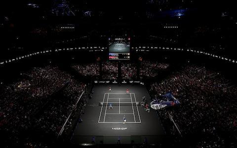 <span>A packed house to watch Roger Federer and Rafa Nadal play together</span> <span>Credit: GETTY IMAGES </span>