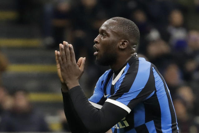 Inter Milan's Romelu Lukaku reacts after missing a chance to score during an Italian Cup soccer match between Inter Milan and Napoli at the San Siro stadium, in Milan, Italy, Wednesday, Feb. 12, 2020. (AP Photo/Luca Bruno)