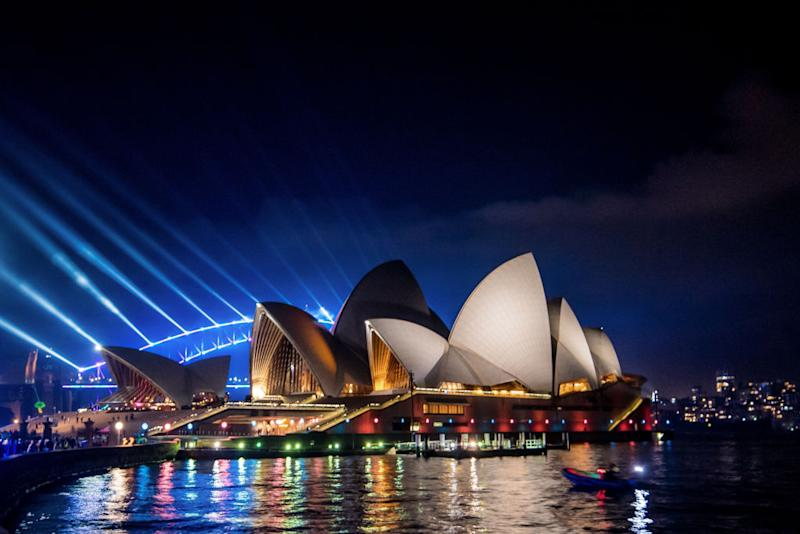 The Sydney Harbour Bridge and Sydney Opera House are seen during Vivid Sydney in 2019.