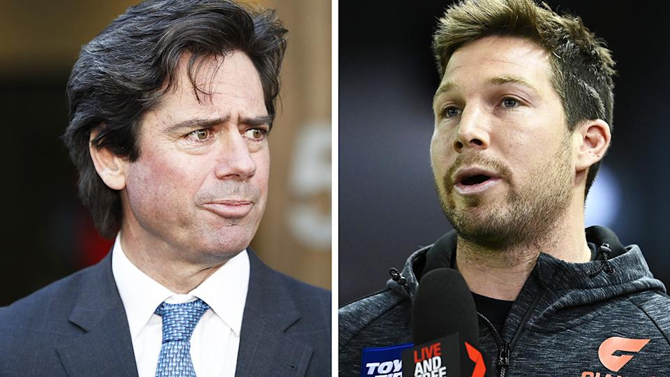 AFL CEO Gillon McLachlan, left, was unhappy with the three-week ban given to Toby Greene, right.