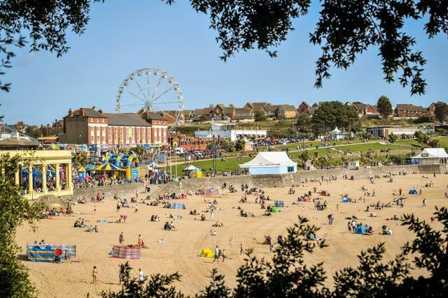 People at Barry Island in Wales