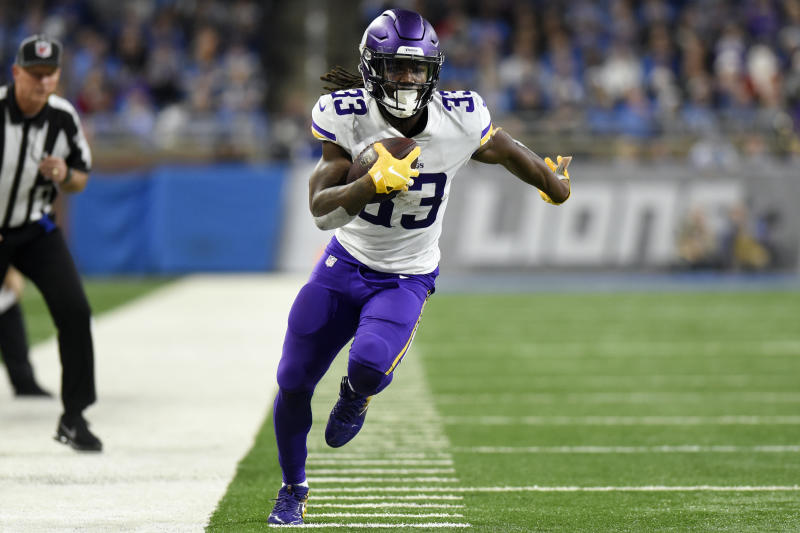 FILE - In this Sunday, Dec. 23, 2018 file photo, Minnesota Vikings running back Dalvin Cook (33) runs against the Detroit Lions during the second half of an NFL football game, Sunday, Dec. 23, 2018, in Detroit. With rookie Alexander Mattison at the top of the candidate list and Ameer Abdullah returning after a late-season arrival last year, the Minnesota Vikings are looking for another running back to emerge as a reliable complement to Dalvin Cook. (AP Photo/Jose Juarez, File)