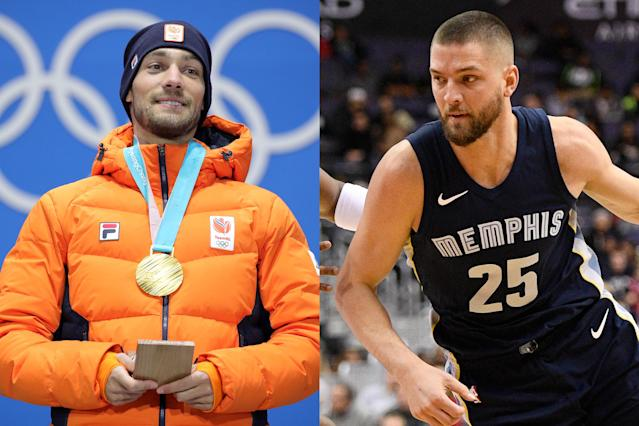 <p>Dutch speed skater Kjeld Nuis and NBA player Chandler Parsons might not be twins, but they could pass for cousins. Nuis is a two-time Olympian, winning gold in both of his Olympic appearances. </p>