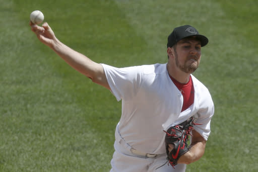Cincinnati Reds starter Trevor Bauer pitches against the Pittsburgh Pirates in the first inning of a baseball game Sunday, Aug. 25, 2019, in Pittsburgh. (AP Photo/Keith Srakocic)